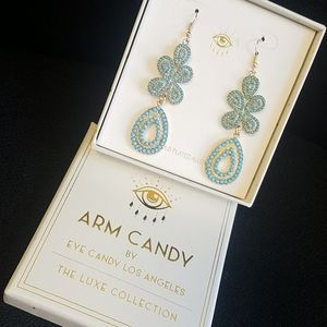 Eye candy dangle earrings turquoise blue / golden
